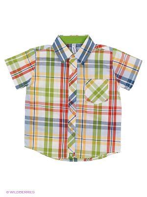 Рубашка PlayToday. Цвет: зеленый, оранжевый, белый