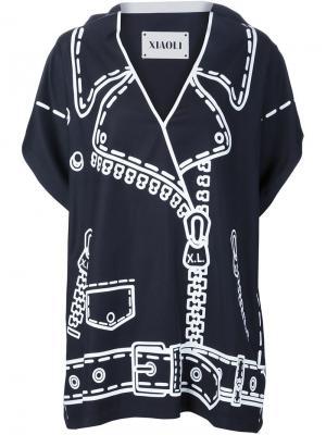 Блузка с принтом в байкерском стиле Xiao Li. Цвет: синий
