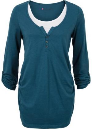 Мода для беременных: футболка с длинными рукавами и функцией кормления (серо-синий) bonprix. Цвет: серо-синий