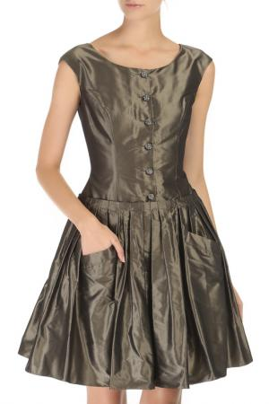 Приталенное платье с пышной юбкой DOLCE & GABBANA. Цвет: темно-серый