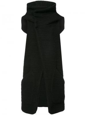 Куртка с капюшоном без рукавов Nude. Цвет: чёрный