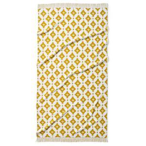 Полотенце пляжное из жаккарда IKA La Redoute Interieurs. Цвет: насыщенно-желтый/белый,серо-синий/белый