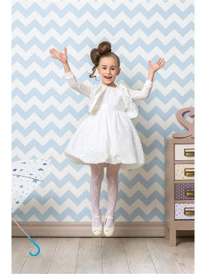 Комплект для девочек (платье, кофта) Perlitta. Цвет: белый