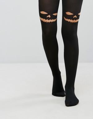 Leg Avenue Непрозрачные колготки с принтом черного кота Halloween. Цвет: черный
