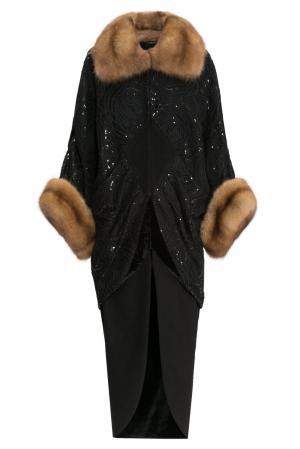 Пальто из шерсти с отделкой меха куницы 156705 Charisma. Цвет: черный
