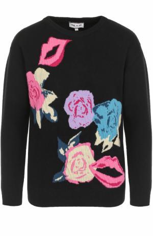 Шерстяной пуловер с принтом и круглым вырезом Paul&Joe. Цвет: черный