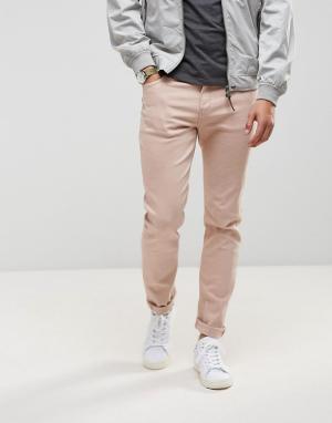 LDN DNM Нежно-розовые облегающие джинсы. Цвет: розовый