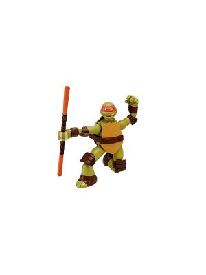 Заводная фигурка Черепашки-ниндзя 15см Суперповорот Майки Playmates toys. Цвет: зеленый, коричневый