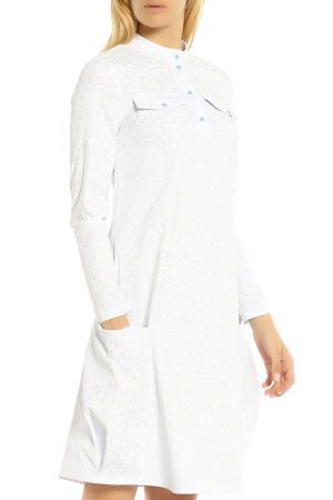 Летнее комфортное платье с карманами Adzhedo. Цвет: белый, голубая полоса