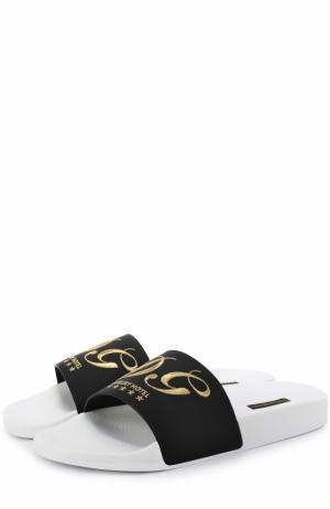 Резиновые шлепанцы с кожаной отделкой Dolce & Gabbana. Цвет: черно-белый