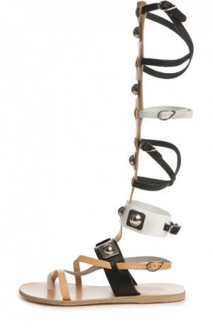 Кожаные сандалии High Gladiator Ancient Greek Sandals. Цвет: бежевый