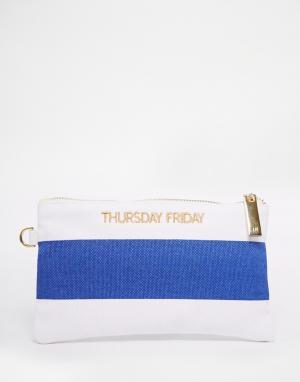 Thursday Friday Полосатый парусиновый клатч. Цвет: темно-синий