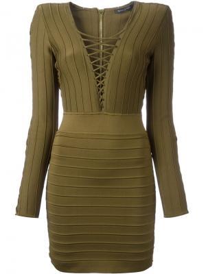 Платье в рубчик Balmain. Цвет: коричневый