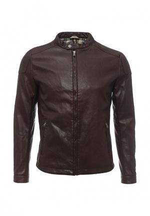 Куртка кожаная Gianni Lupo. Цвет: бордовый