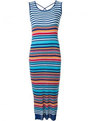 Полосатое длинное платье Loveless. Цвет: синий