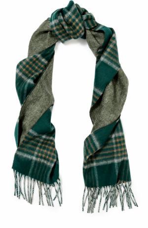 Кашемировый шарф с бахромой Johnstons Of Elgin. Цвет: зеленый