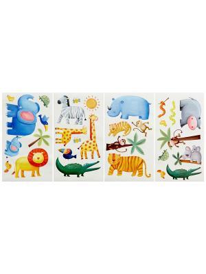 Наклейки для декора. Приключения в джунглях ROOMMATES. Цвет: белый, черный, синий, зеленый, серый, голубой, красный, оранжевый, желтый