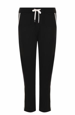 Хлопковые брюки с контрастными лампасами и эластичным поясом Escada Sport. Цвет: черный