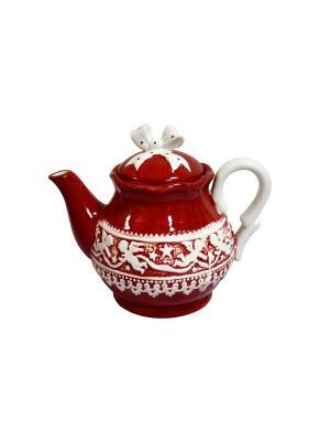 Чайник заварочный Рождественский и/уп Elff Ceramics. Цвет: красный, белый