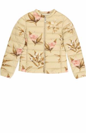 Стеганая куртка с принтом Moncler Enfant. Цвет: бежевый