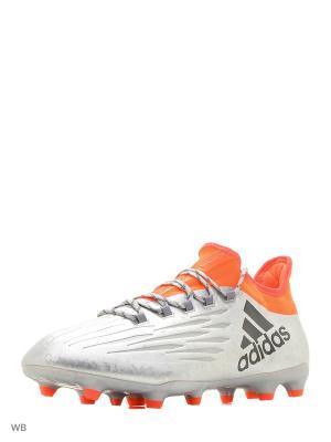 Футбольные бутсы (мяг.покр.) муж. X 16.2 FG Adidas. Цвет: серебристый