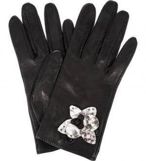 Черные перчатки из натуральной кожи ELEGANZZA. Цвет: черный