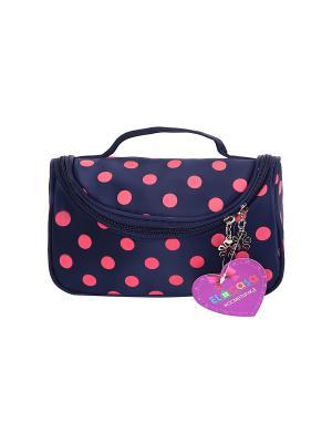 Косметичка - сумочка Синяя с розовым горошком EL CASA. Цвет: синий, розовый