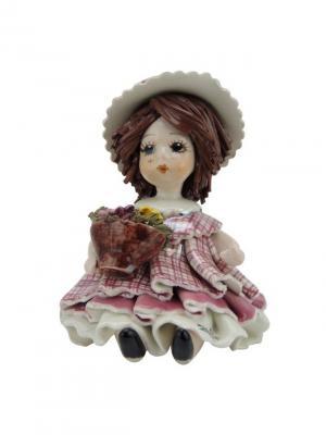 Статуэтка Девочка с цветами Zampiva. Цвет: розовый, белый, коричневый
