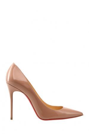 Туфли из лакированной кожи Decollete 100 Christian Louboutin. Цвет: бежевый