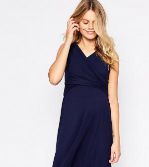 ASOS Maternity - Nursing Короткое приталенное платье для беременных с запахом NU. Цвет: темно-синий