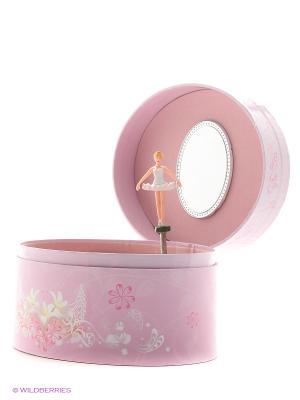 Музыкальная шкатулка с фигуркой в форме овала Jakos. Цвет: розовый, белый, бежевый
