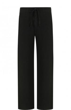 Льняные брюки прямого кроя с поясом на кулиске 120% Lino. Цвет: черный