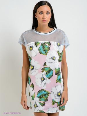 Платье BSB. Цвет: бледно-розовый, белый, зеленый