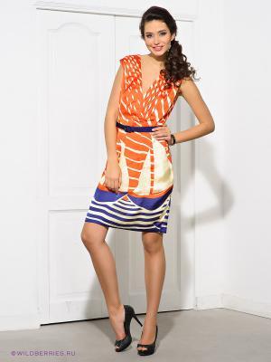 Платье Eva Franco. Цвет: синий, кремовый