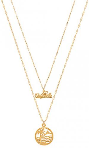 Набор ожерелий love california Natalie B Jewelry. Цвет: металлический золотой