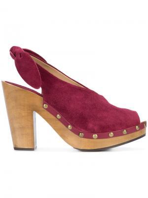 Мюли с открытым носком Ulla Johnson. Цвет: розовый и фиолетовый