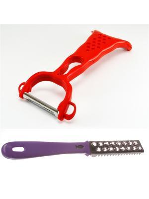 Нож для чистки овощей с 2-мя лезвиями и рыбочистка фиолетовая Радужки. Цвет: фиолетовый
