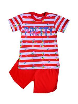 Комплект: футболка, шорты Sladikmladik. Цвет: красный