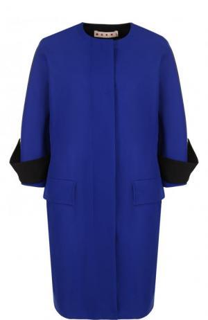 Хлопковое пальто с укороченным рукавом и круглым вырезом Marni. Цвет: синий