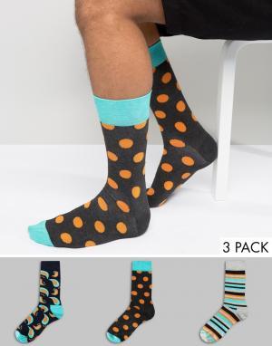 Happy Socks 3 пары носков HS by. Цвет: мульти