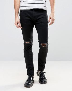 Rollas Черные джинсы слим с рваной отделкой Thin Captain. Цвет: черный