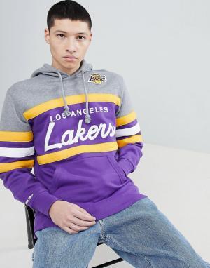 Mitchell & Ness Худи фиолетового цвета со вставкой NBA Lakers. Цвет: фиолетовый