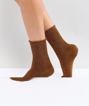 Pieces Блестящие носки. Цвет: желтый