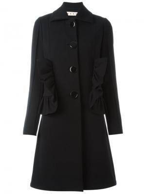 Пальто средней длины с рюшами Marni. Цвет: чёрный