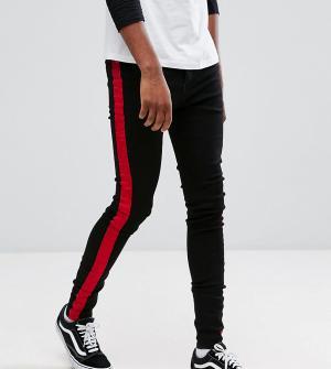 Sixth June Черные обтягивающие джинсы с красной полосой TALL. Цвет: черный