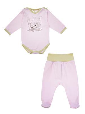 Комплект одежды: боди, ползунки Коллекция Зайкина любовь КОТМАРКОТ. Цвет: розовый