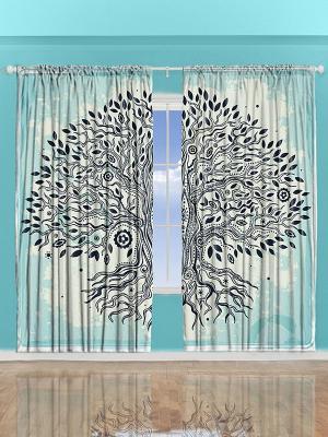 Фотошторы Дерево на бирюзовом фоне, 290*265 см Magic Lady. Цвет: бирюзовый