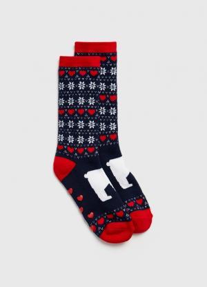 Жаккардовые носки с новогодним рисунком OSTIN. Цвет: глубокий синий