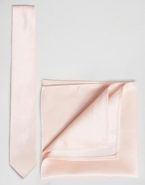 ASOS Свадебный галстук и платок для пиджака розового цвета. Цвет: розовый