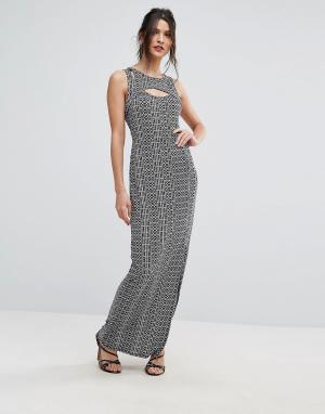 BCBG MaxAzria Облегающее платье с принтом. Цвет: мульти